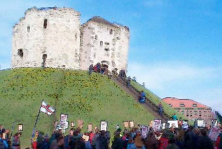 Demo at Clifford's Tower in the style of Claude Monet