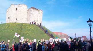 Marching past Clifford's Tower